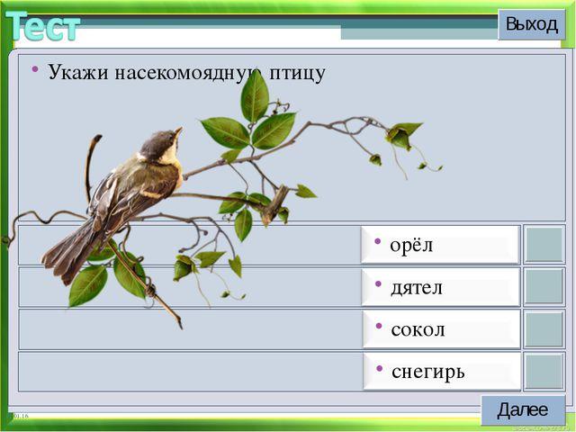* Укажи насекомоядную птицу