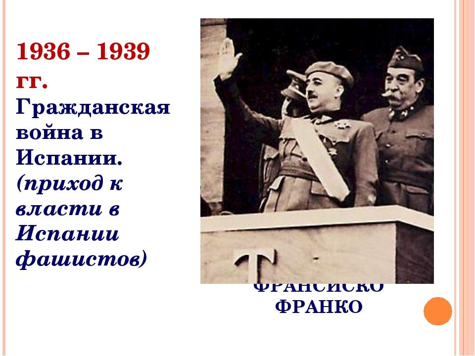 ФРАНСИСКО ФРАНКО 1936 – 1939 гг. Гражданская война в Испании. (приход к власт...