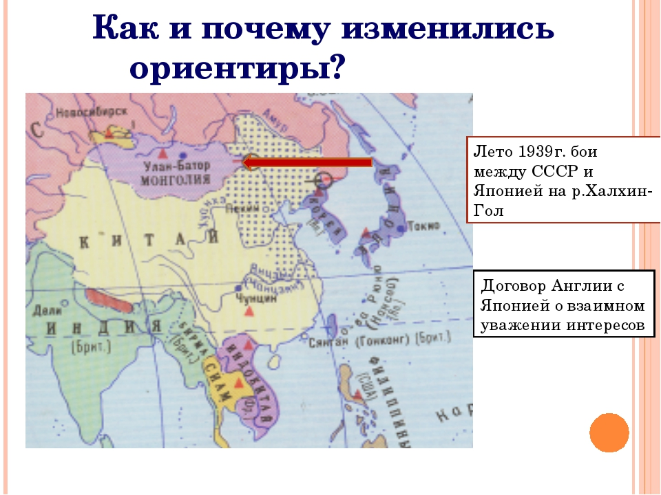 Лето 1939г. бои между СССР и Японией на р.Халхин-Гол Договор Англии с Японией...