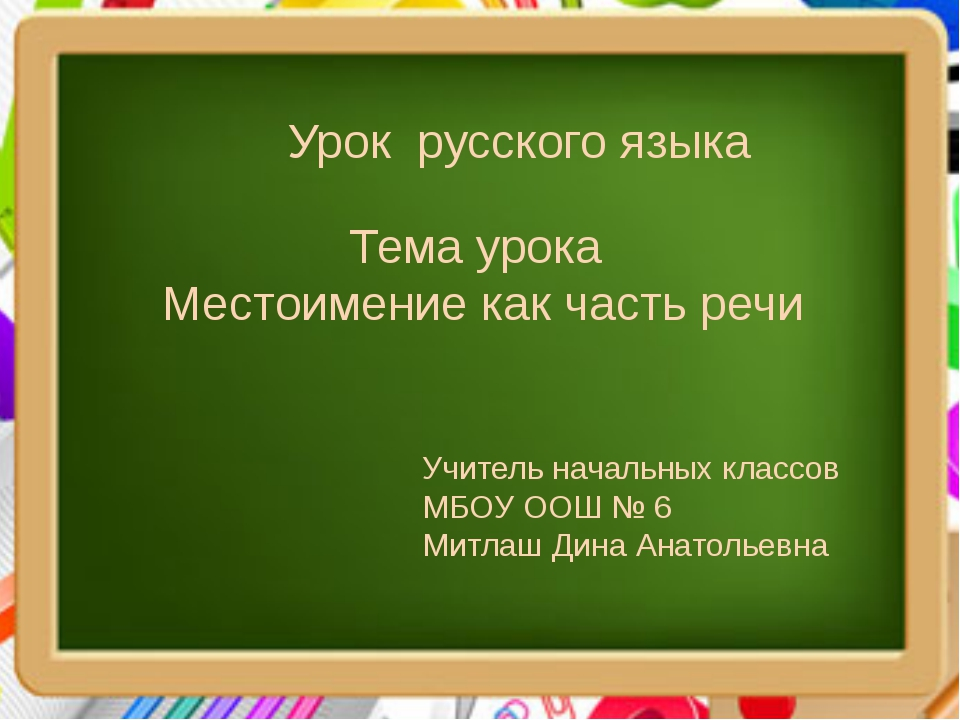 Тема урока Местоимение как часть речи Урок русского языка Учитель начальных к...