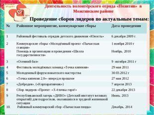 Деятельность волонтёрского отряда «Позитив» в Можгинском районе Проведение сб