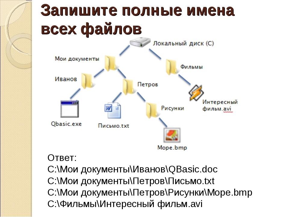 Запишите полные имена всех файлов Ответ: C:\Мои документы\Иванов\QBasic.doc C...
