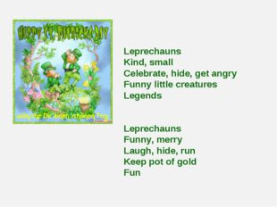 Leprechauns Kind, small Celebrate, hide, get angry Funny little creatures Leg