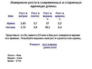 Измерение роста в современных и старинных единицах длины.  Локоть – 44см Вер