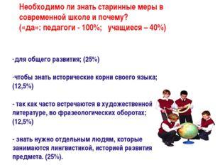 для общего развития; (25%) чтобы знать исторические корни своего языка; (12,5