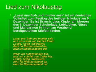 """Lied zum Nikolaustag """"Lasst uns froh und munter sein"""" ist ein deutsches Volks"""