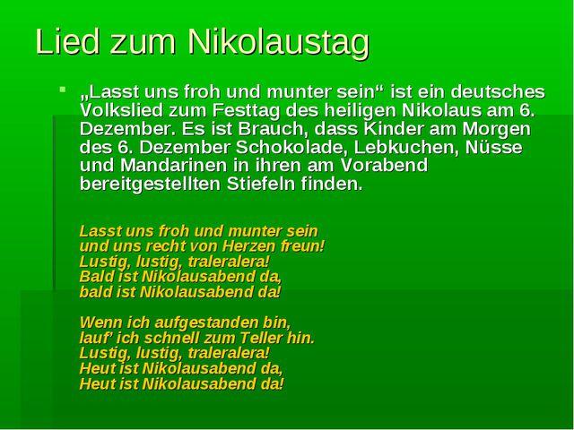 """Lied zum Nikolaustag """"Lasst uns froh und munter sein"""" ist ein deutsches Volks..."""