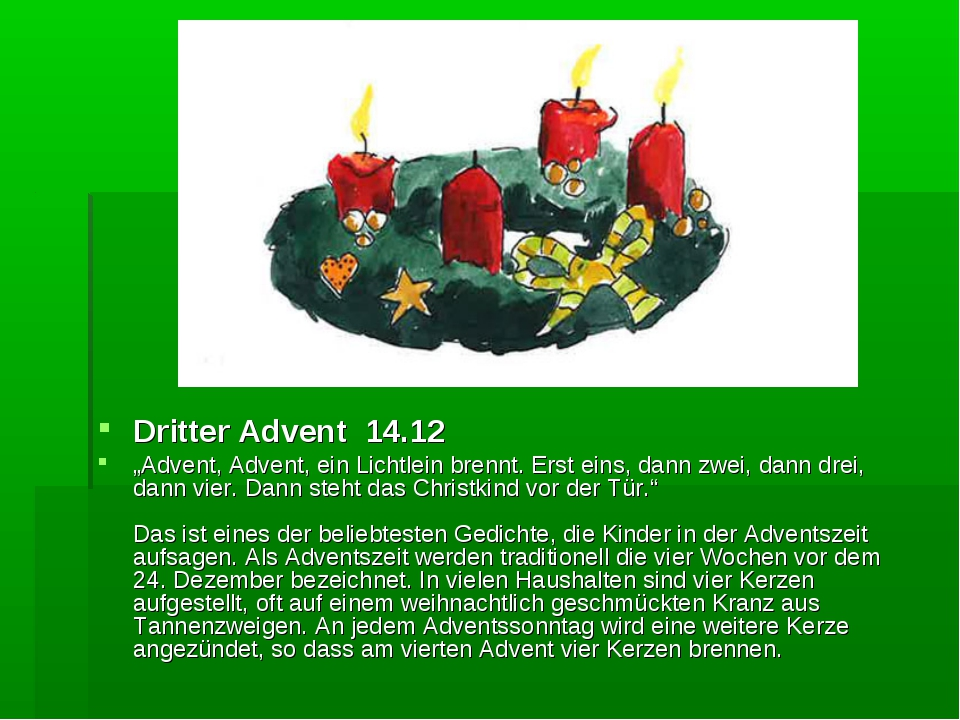 """Dritter Advent 14.12 """"Advent, Advent, ein Lichtlein brennt. Erst eins, dann z..."""
