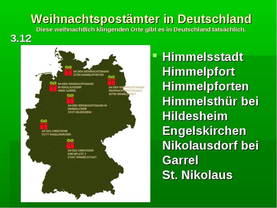 Weihnachtspostämter in Deutschland Diese weihnachtlich klingenden Orte gibt e...