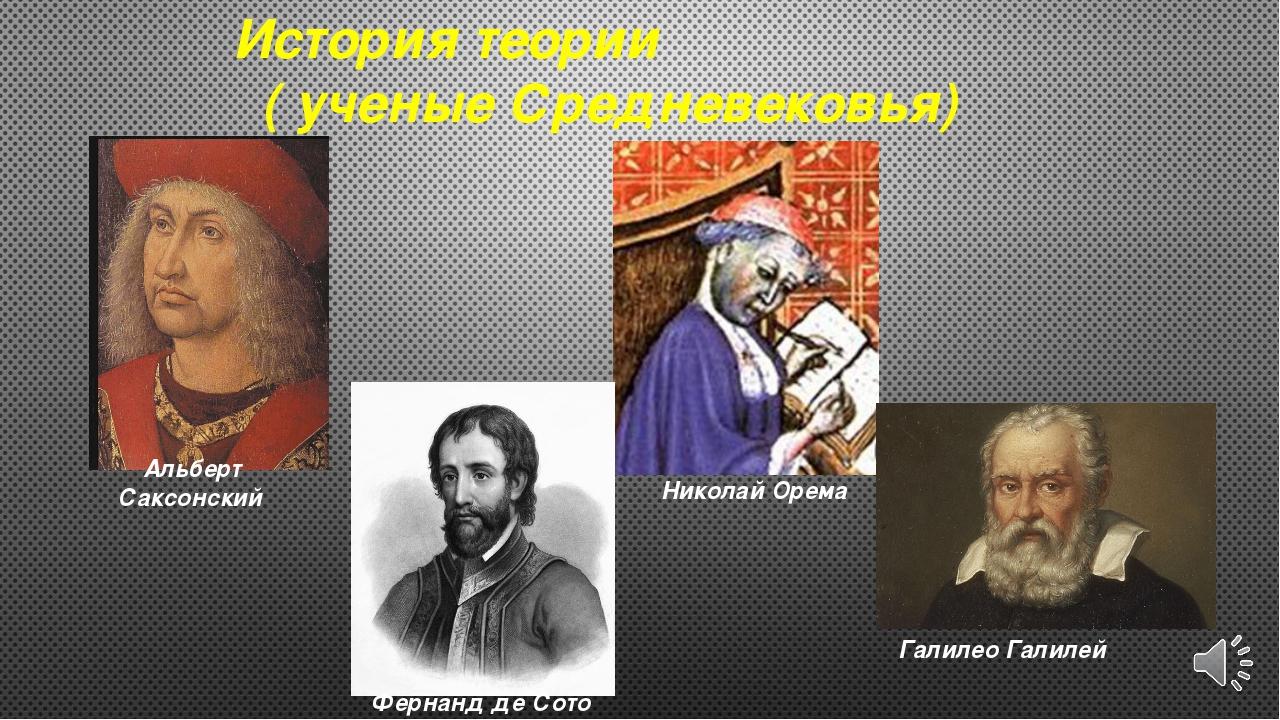 Альберт Саксонский Николай Орема Фернанд де Сото Галилео Галилей История теор...