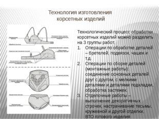 Технология изготовления корсетных изделий Технологический процесс обработки к