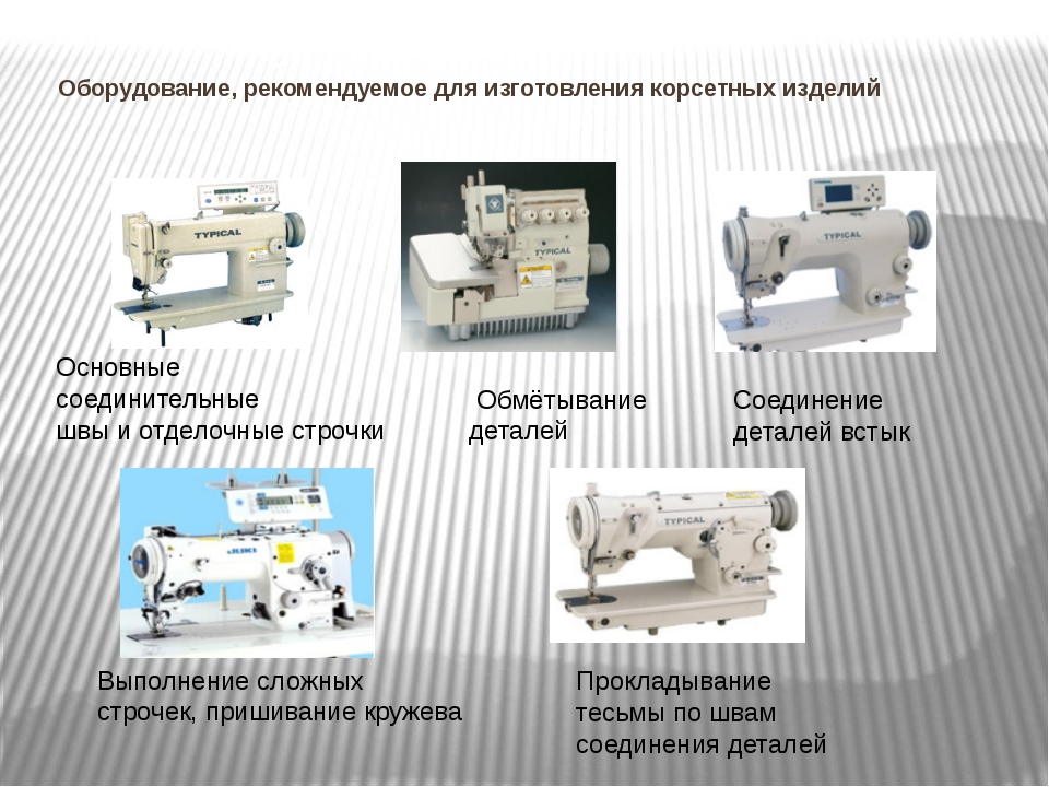 Оборудование, рекомендуемое для изготовления корсетных изделий Основные сое...