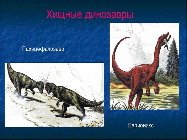 Хищные динозавры Пахицефалозавр Барионикс
