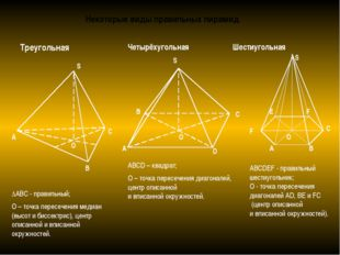 Некоторые виды правильных пирамид Треугольная С ΔАВС - правильный; О – точка