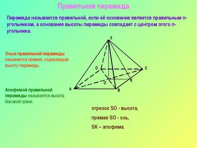 Правильная пирамида Пирамида называется правильной, если её основание являетс...