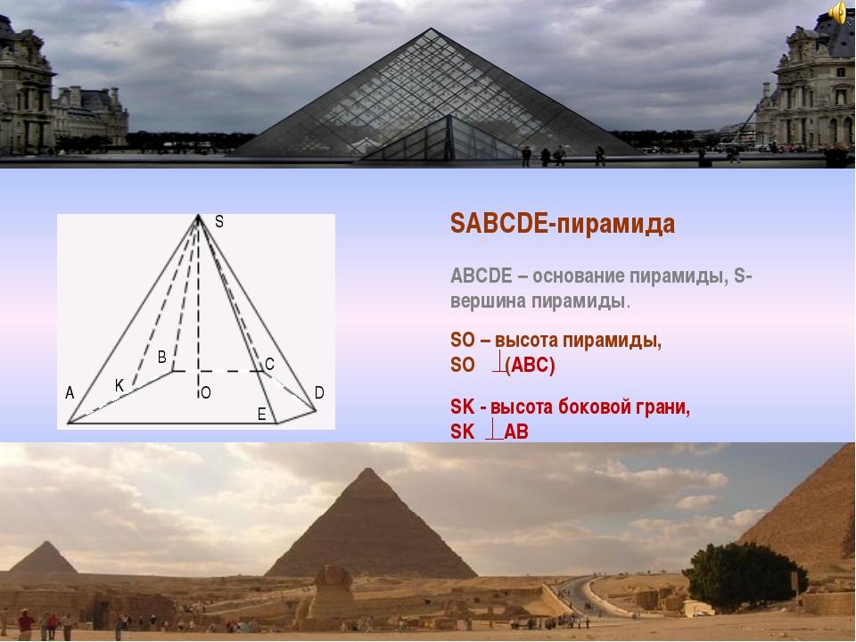 S O D B A K C E SABCDE-пирамида ABCDE – основание пирамиды, S- вершина пирами...