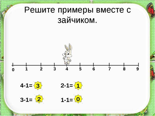 Решите примеры вместе с зайчиком. 0 1 2 3 4 5 6 7 8 9 4-1= 3-1= 2-1= 1-1= 3 2...