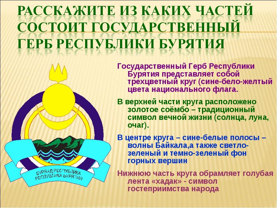 Государственный Герб Республики Бурятия представляет собой трехцветный круг (...