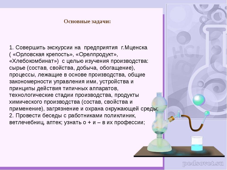 Основные задачи: 1. Совершить экскурсии на предприятия г.Мценска ( «Орловская...