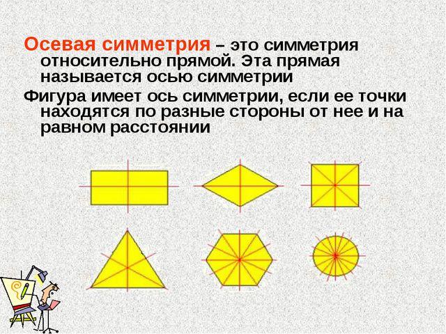 Осевая симметрия – это симметрия относительно прямой. Эта прямая называется о...
