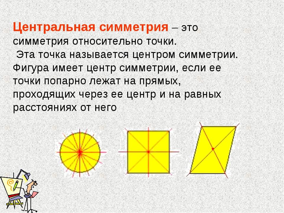 Центральная симметрия – это симметрия относительно точки. Эта точка называетс...