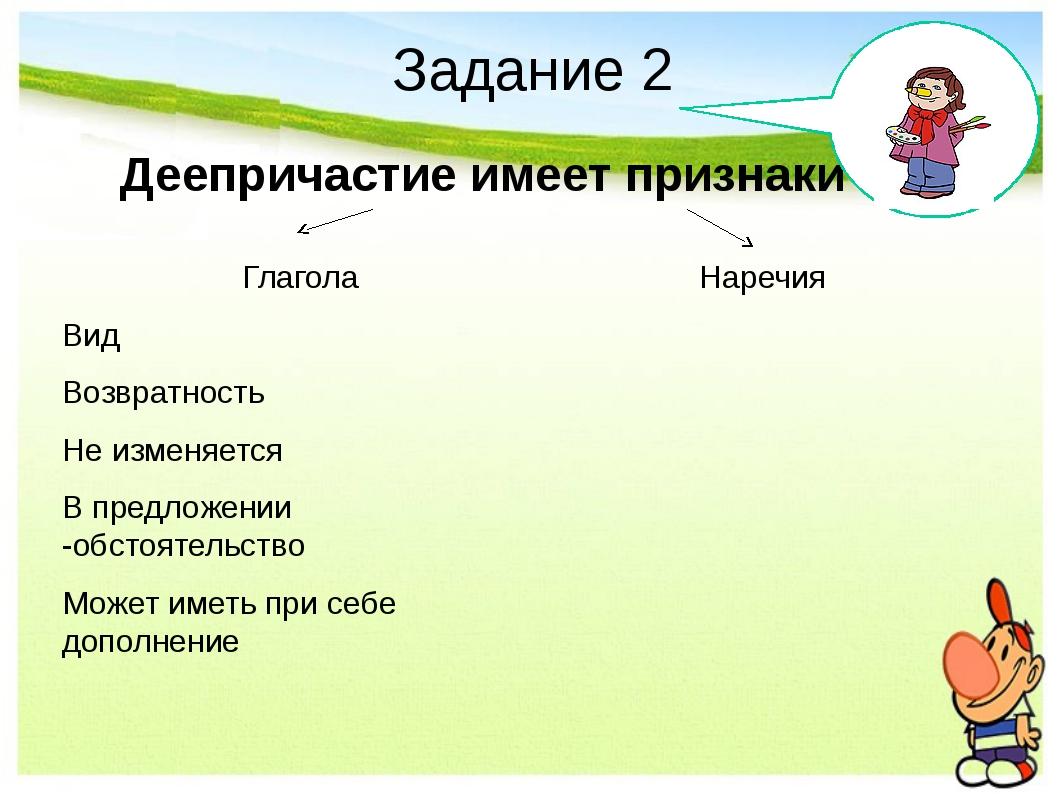 Задание 2 Деепричастие имеет признаки Наречия Глагола Вид Возвратность Не изм...