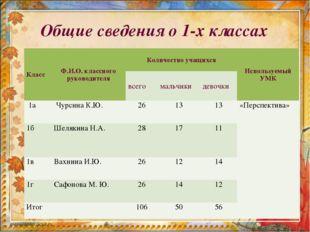 Общие сведения о 1-х классах КлассФ.И.О. классного руководителяКоличество у