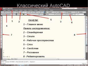* Классический AutoCAD ПАНЕЛИ: 1 – Главное меню Панели инструментов: 2 – Стан