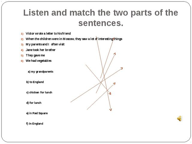 Listen and match the two parts of the sentences. Victor wrote a letter to his...