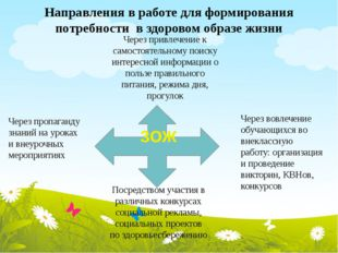 Направления в работе для формирования потребности в здоровом образе жизни Чер