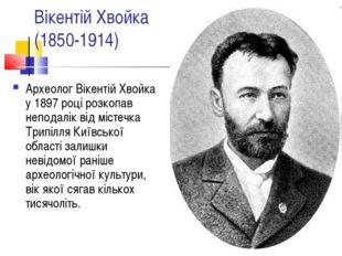 Вікентій Хвойка (1850-1914) Археолог Вікентій Хвойка у 1897 році розкопав неп