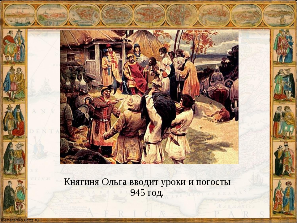 Княгиня Ольга вводит уроки и погосты 945 год.