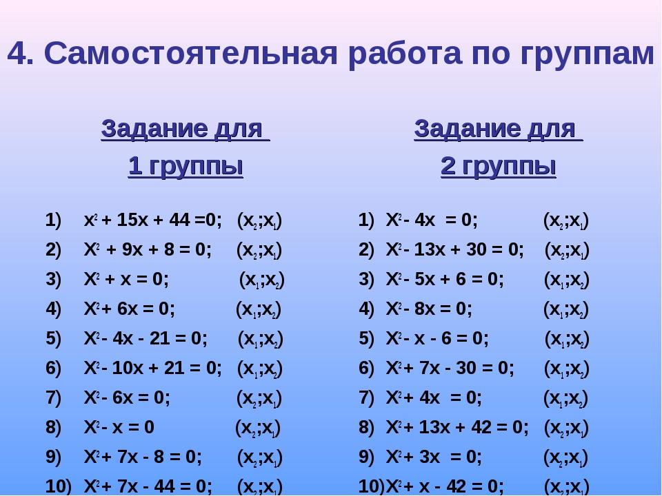 4. Самостоятельная работа по группам Задание для 1 группы х2 + 15х + 44 =0; (...