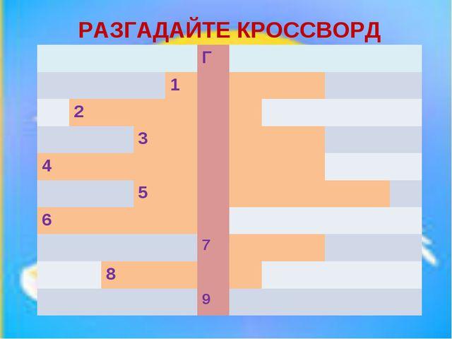 МИНИ - КВН РАЗГАДАЙТЕ КРОССВОРД Г 1 2 3...