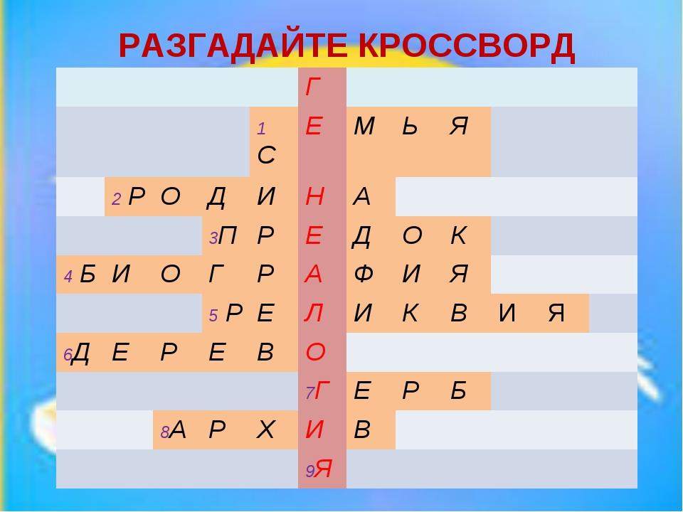 МИНИ - КВН РАЗГАДАЙТЕ КРОССВОРД Г 1 СЕМЬЯ 2 РОДИН...