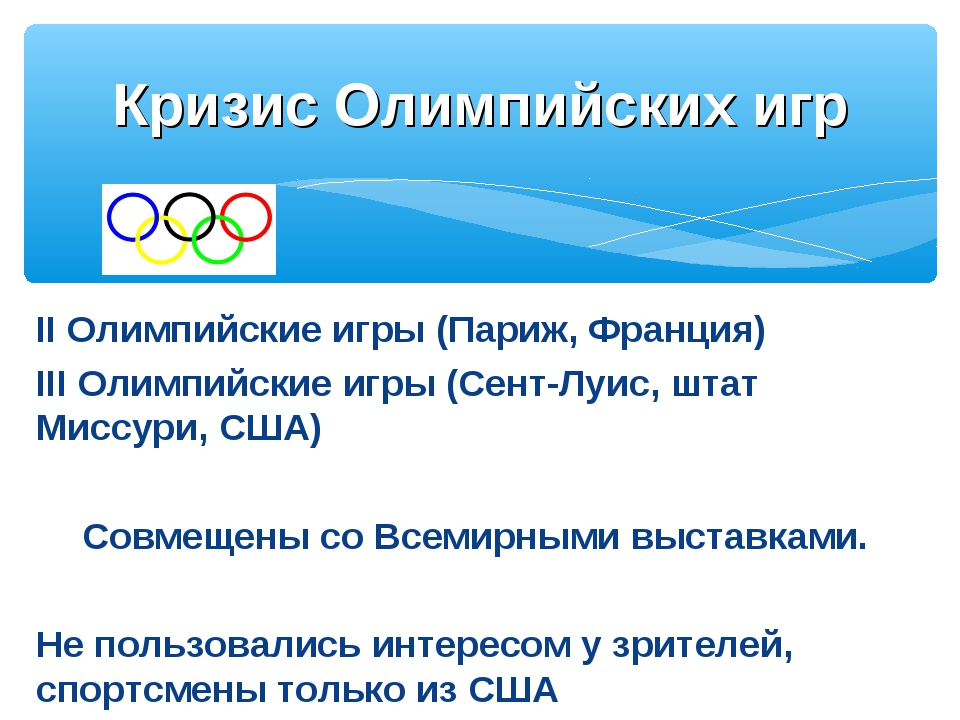II Олимпийские игры (Париж, Франция) III Олимпийские игры (Сент-Луис, штат Ми...