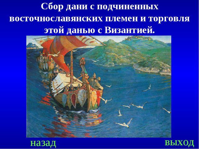 назад выход Сбор дани с подчиненных восточнославянских племен и торговля этой...