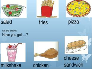 salad fries pizza milkshake chicken cheese sandwich Ask and answer: Have you