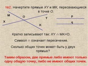 №2. Начертите прямые XY и МК, пересекающиеся в точке О. X Y M K O Кратко запи