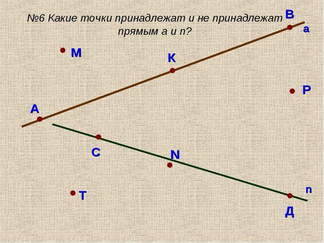 А В а С Д n М К Р N Т №6 Какие точки принадлежат и не принадлежат прямым a и n?