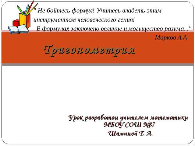 Урок разработан учителем математики МБОУ СОШ №87 Шаминой Т. А. Тригонометрия...