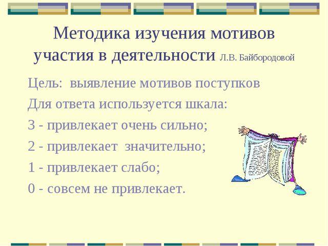 Методика изучения мотивов участия в деятельности Л.В. Байбородовой Цель: выяв...