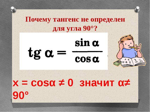 Почему тангенс не определен для угла 90°? х = cosα ≠ 0 значит α≠ 90°