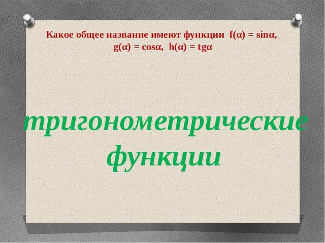 Какое общее название имеют функции f(α) = sinα, g(α) = cosα, h(α) = tgα триго...