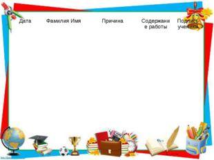 Дата Фамилия ИмяПричина Содержание работыПодпись ученика