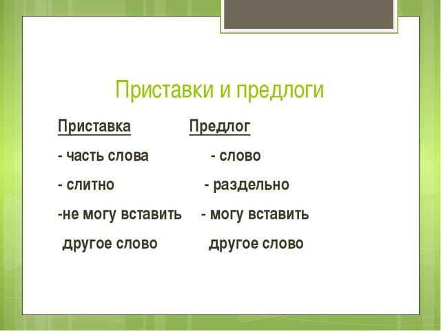 Приставки и предлоги Приставка Предлог - часть слова - слово - слитно - раз...