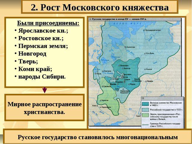 2. Рост Московского княжества Были присоединены: Ярославское кн.; Ростовское...