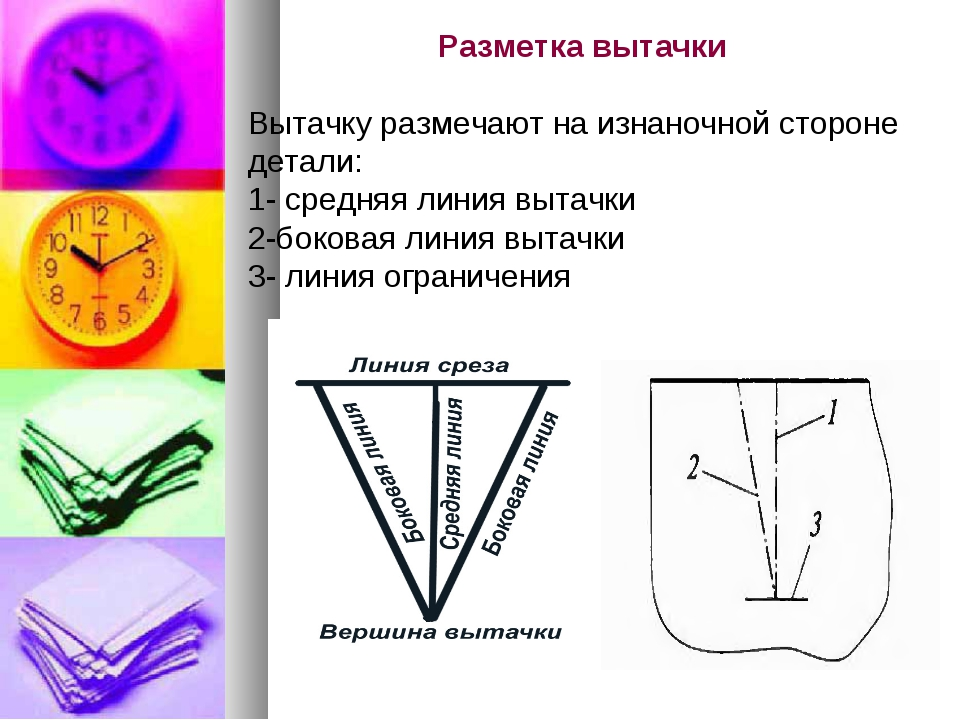 Разметка вытачки Вытачку размечают на изнаночной стороне детали: 1- средняя л...