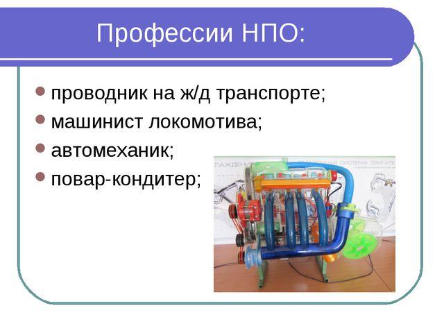 Профессии НПО: проводник на ж/д транспорте; машинист локомотива; автомеханик;...