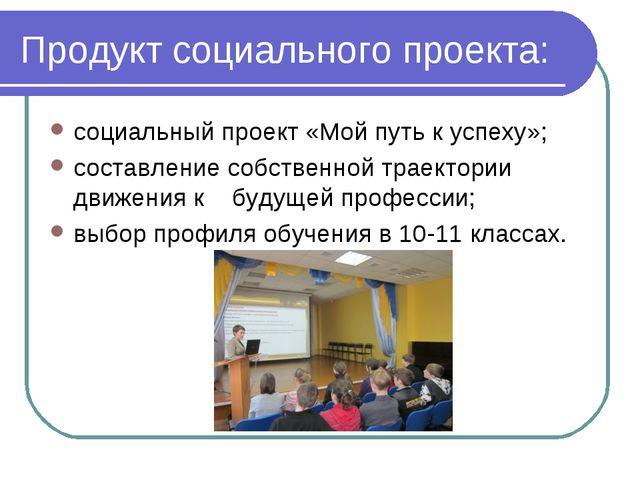 Продукт социального проекта: социальный проект «Мой путь к успеху»; составлен...
